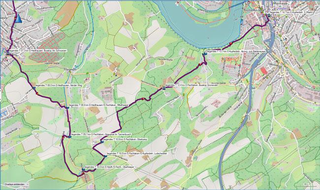 liegendes T Bredeney - Kupferdreh Karte 3 E-Heidhausen, Illänderweg - E-Kupferdreh, S-Bahn (Markt)