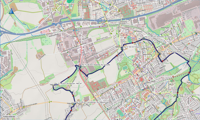 (W) Rund um Wattenscheid Detailkarte 3 BO-Sevinghausen - BO-Höntrop, Brucknerstr.