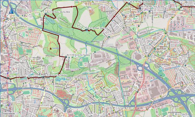 (B) Rund um Bochum Detailkarte 1 BO-Hofstede - BO-Hiltrop