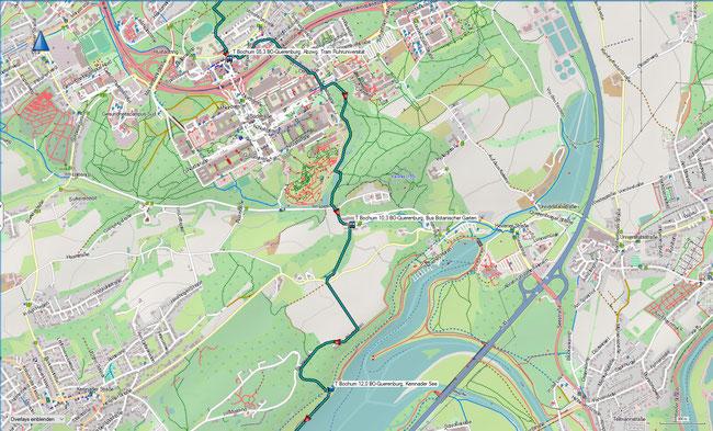 T Bochum Detailkarte 3 BO-Querenburg, Ruhruni - BO-Querenburg, Kennader See