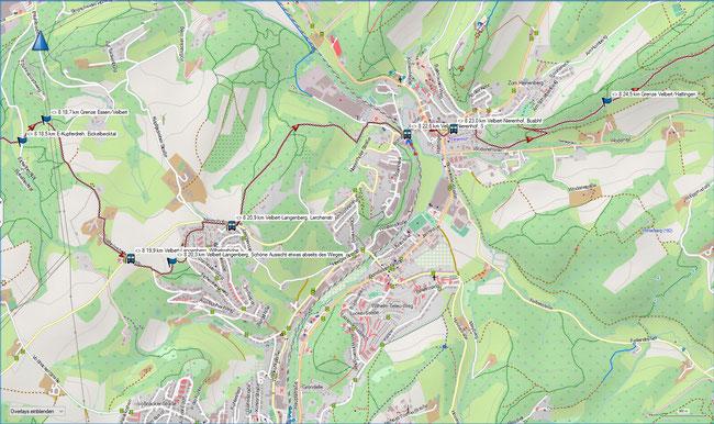 Raute 8 Karte 5 Stadtgrenze  Essen / Velbert - Stadtgrenze Velbert / Hattingen