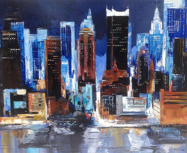 Lueurs bleues sur le port de New-York 116 x 81 cm