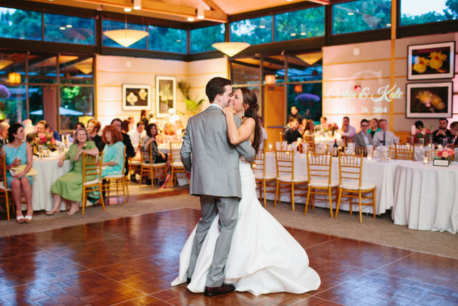 Dallas Arboretum Rosine Hall wedding DJ romantic first dance lighting