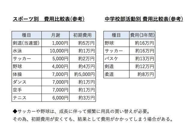 スポーツ別 費用比較表