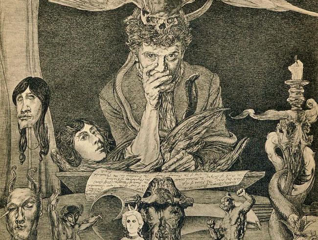 Ein Ausschnitt aus einer Illus. von Austin Osman Spare (Todeshaltung, Death Posture).