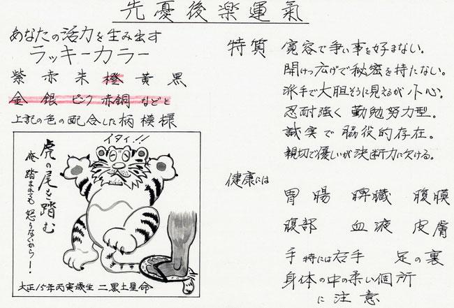 十二支の寅を十二獣の虎に当てると百獣の王のように威風堂々ですが、寅(いん)の原点は慎(つつしむ)で、二黒土星は柔軟を象としますから争い事を好みません。