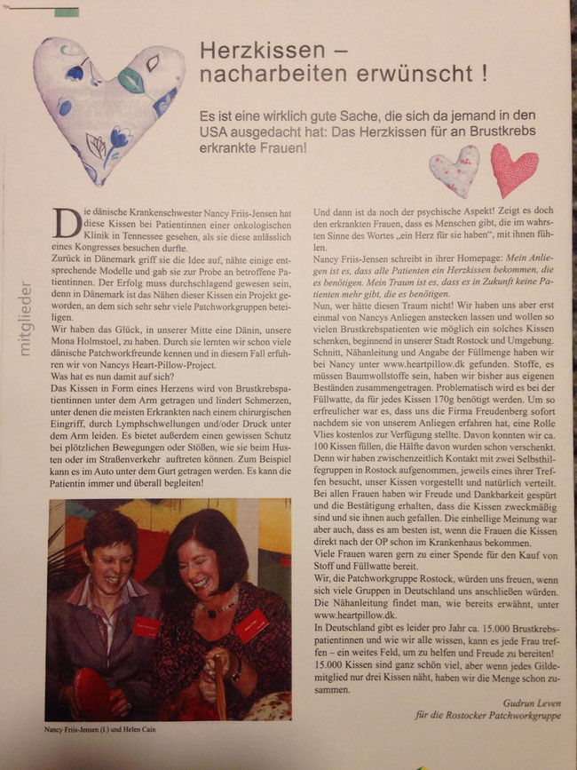 Quelle: Patchwork-Gilde-Zeitschrift aus dem Jahr 2009