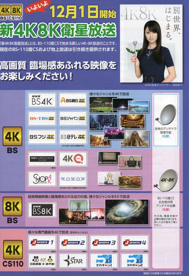 4K・8K衛星放送提供局 一覧