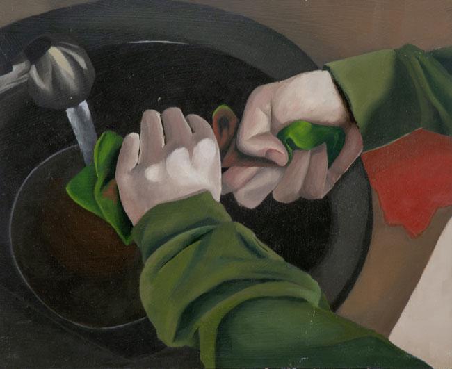 Wringen, 2017, Öl auf Leinwand, 40x 50 cm