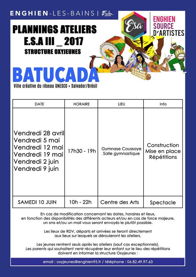Affiche - Planning des ateliers Batucada