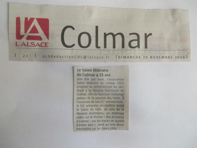 L'Alsace 20/11/2016