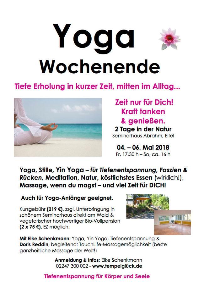 Flyer für das Yogawochenende in der Eifel mit TouchLife Massage