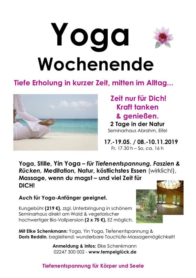 Flyer für das Yoga-Wochenende mit TouchLife Massage