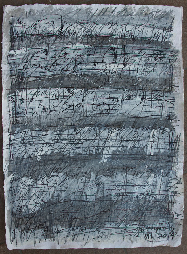 composition   prades  summer 2014       mixed media  on  nepalese  paper     54  x  70  cm