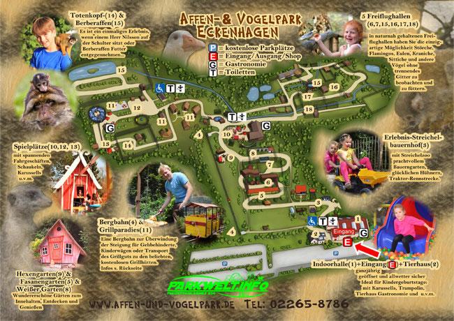 Affen und Vogelpark Eckenhagen Tierpark Wildpark Zoo Nordrhein Westfalen Abenteuer Spielplatz Park Plan Parkplan Guide Map