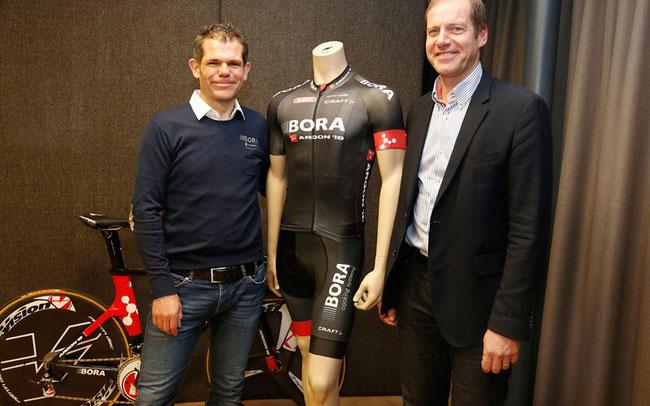 Ralph Denk, Teammanager  von Bora-Argon 18, hatte Besuch von Christian Prudhomme, Direktor Tour de France  © BORA - Argon 18