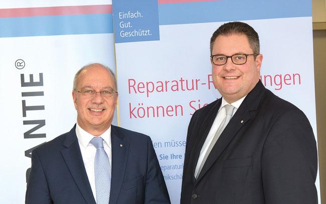 (v.l.n.r.) Thomas Schröder, Vorsitzender des Vorstands, und Patrick Döring, Vertriebsvorstand von WERTGARANTIE