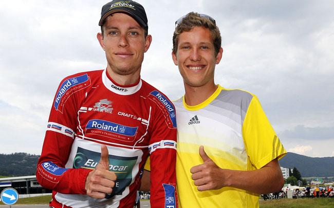 Björn Thurau (mit Bruder Urs) im Bergtrikot bei der Tour de Suisse 2014 © Sabine Jacob