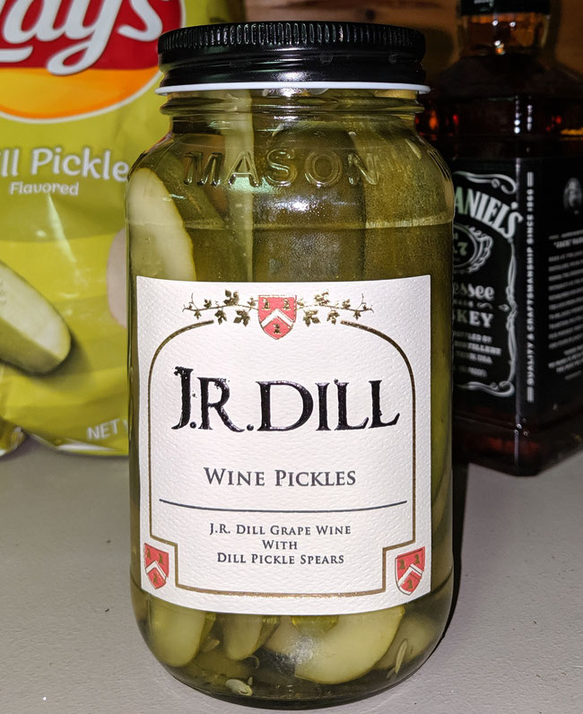 """JR Dill Wine bottled with Dill Pickle Spears                """"DILLicious"""""""