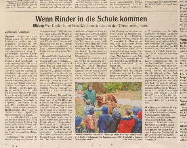 Augsburger Allgemeine, Lokales, Tiertherapie, Kuhreiten, Tier Pädagogik