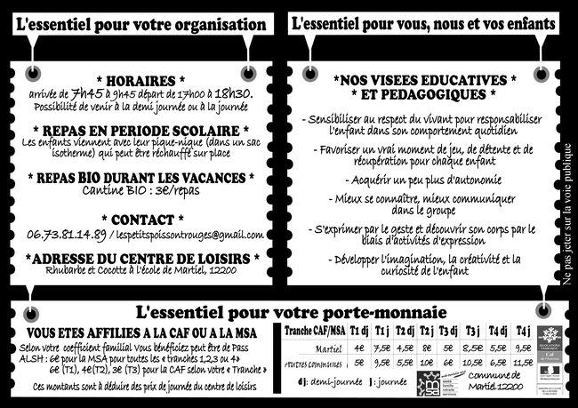 """Flyer du centre de loisir associatif """"Rhubarbe et Cocotte"""" Verso"""