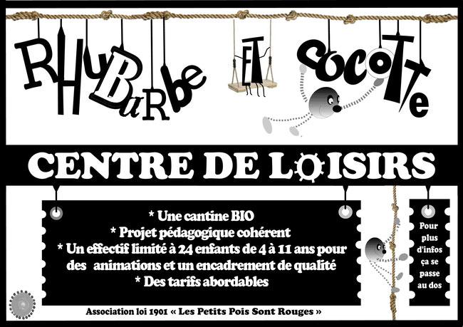 """Flyer du centre de loisir associatif """"Rhubarbe et Cocotte"""" RECTO"""