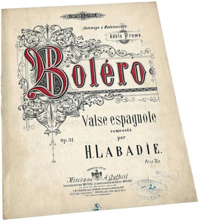 Болеро, испанский вальс, Ипполит Лабади, старинные ноты, обложка, фото