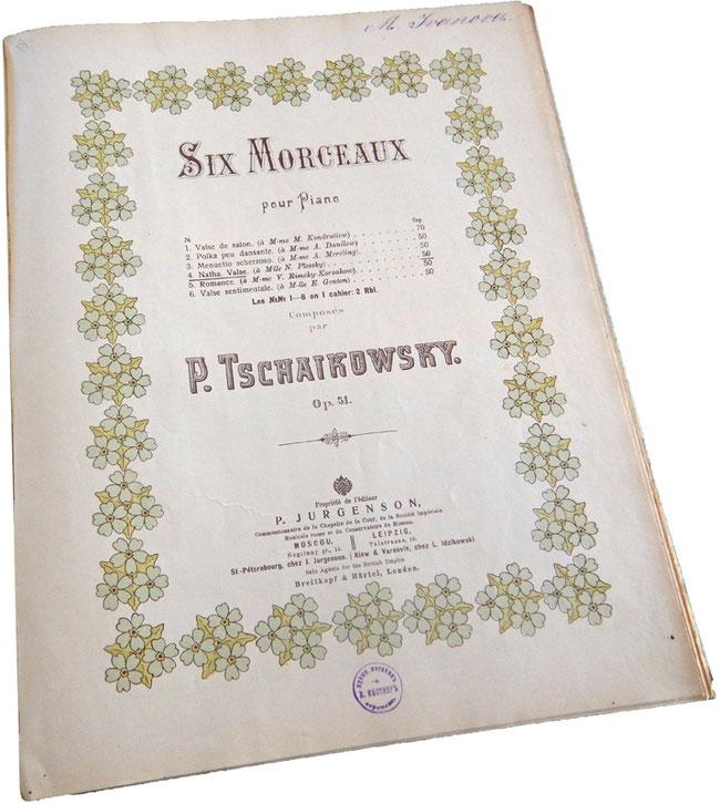 Шесть пьес, Чайковский, опус 51, старинные ноты, Юргенсон, обложка, фото