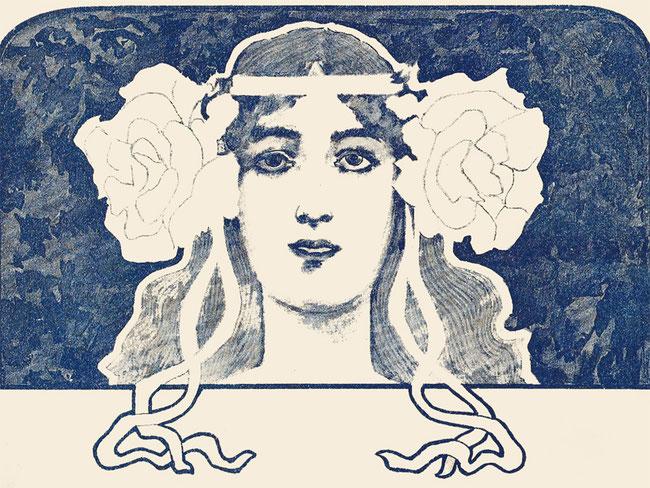 Портрет девушки в стиле модерн, старинный рисунок на нотной обложке