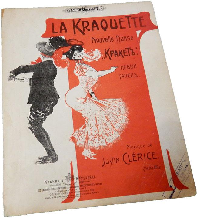 Кракет (Крокет), новый парижский танец, Жюстин Клерис, старинные ноты, обложка, фото