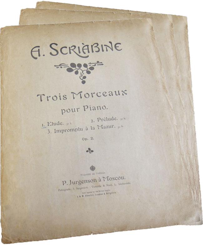 Три пьесы опус 2, этюд, прелюдия, экспромт-мазурка, Скрябин, старинные ноты, Юргенсон 1914, обложка, фото