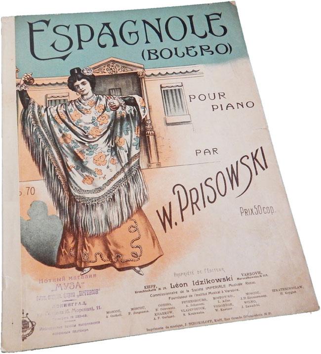 Эспаньола, болеро, В. Присовский, старинные ноты для фортепиано, обложка, фото