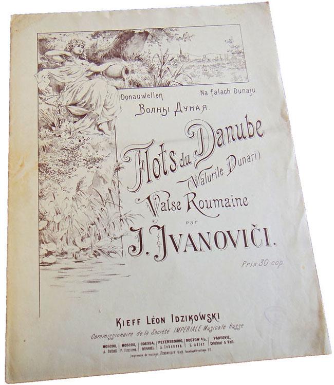 Старинные ноты для фортепиано, вальс Дунайские волны