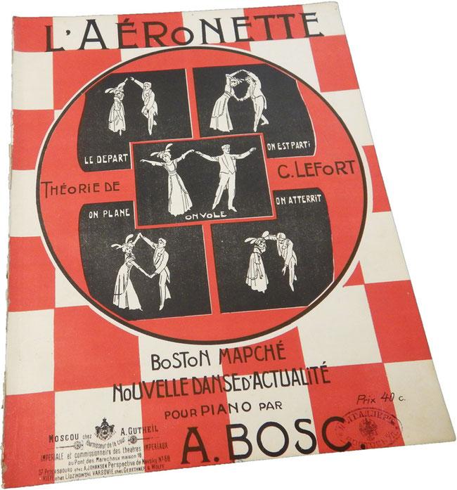 Аэронет, модный парижский танец, Боск, теория Лефорт, старинные ноты для фортепиано, обложка, фото