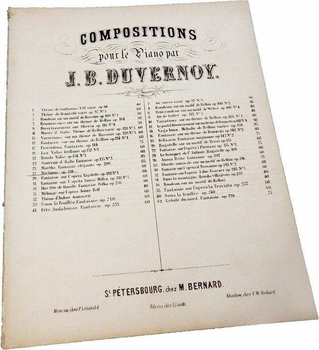 Ноктюрн ми бемоль мажор, Жан Батист Дювернуа, старинные ноты для фортепиано, обложка, фото