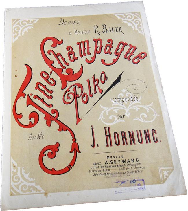 Полька Шампанское, Хорнунг, нотная обложка