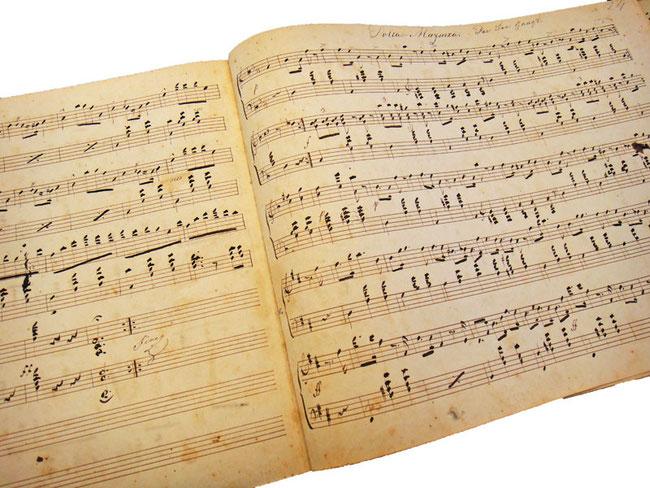 Антикварные рукописные ноты, фото