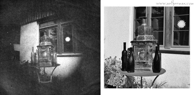 Links das Digipositiv des obigen Negativs - rechts ein modernes Bild