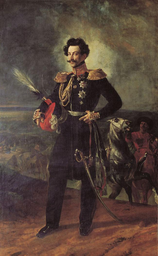 El general Vasily Perovsky, retratado con sus atributos militares en 1837, por el pintor ruso Karl Bryullov.