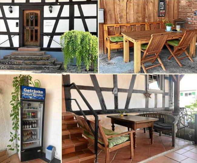 Ilonas Gästehaus mit gemütlicher Gartenterrasse und Getränkeautomat