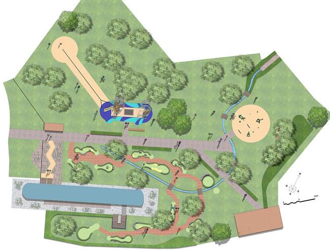 parc aménagement roanne canal loisirs jeux ginkgo marinier
