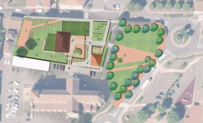 plan mairie belmont de la loire concours jardin de curé parvis espaces publics