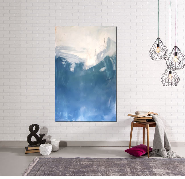 blau weißes Bild Gemälde 160 x 100 cm