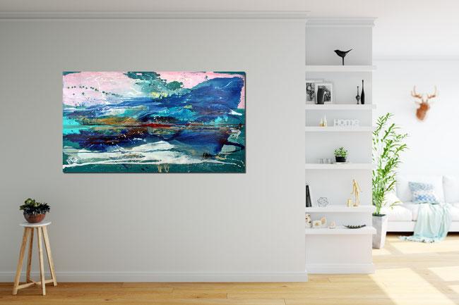 Gemälde türkis blau groß