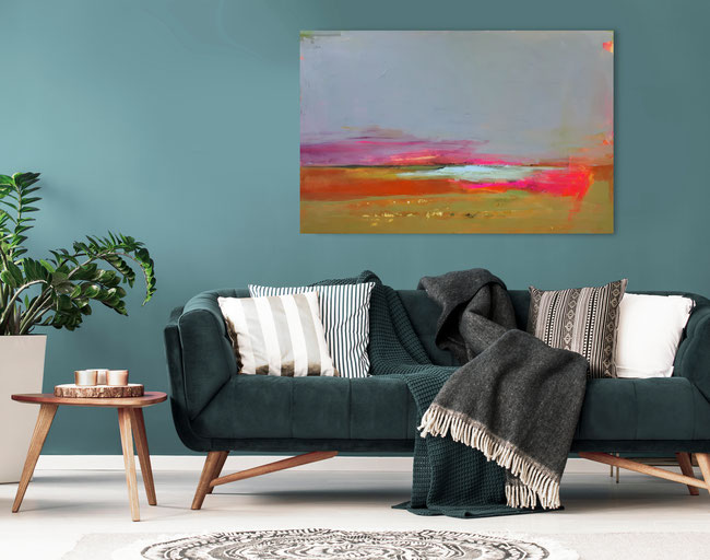 großes graues Gemälde neonrot