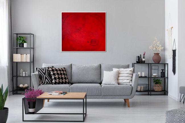 abstraktes modernes gemälde in rot