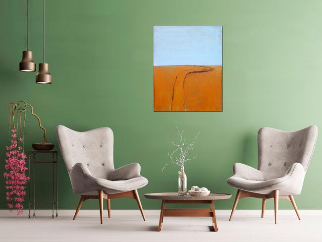 abstraktes Landschafts-Bild in orange