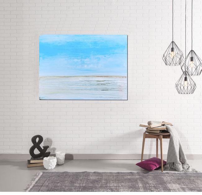 Bild - hellblau Strandspuren