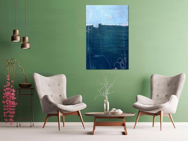blaues Gemäde - Abstrakte Malerei