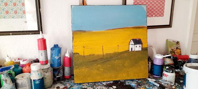 abstraktes modernes gemälde gelb blau